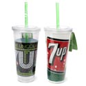 Tumbler 20 Oz 7 Up W/straw Double Insulated 6pc Shelf*9.99* Display 2 Assorted See N2